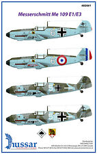 Messerschmitt Bf-109E 1/48 scale 48001 Hussar Productions decals