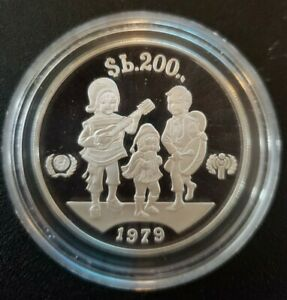 """""""International Year of the Child"""" Bolivia Silver Proof 200 Pesos Coin"""