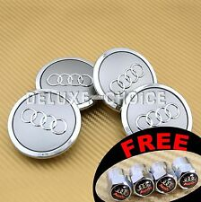 4 Silver Car Alloy Wheel Center Hub Cap Emblem Badge Logo 69mm AUDI 4B0601170A