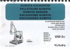 KUBOTA EXCAVATOR U50-3 ALPHA PARTS MANUAL