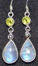 Místico Piedra luna + Peridoto, Multi-gema plata de ley 925 Pendientes