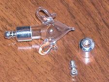 1 Glass Amphora tear Pendant bottle vial Findings w/cap