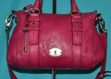 FOSSIL MADDOX SATCHEL Magenta Leather Shoulder Satchel Cross-Body Purse Tote Bag