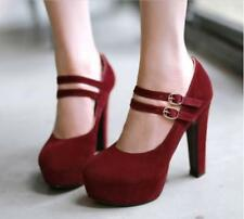 Womens High Heels Ankle Strappy Court Shoes Grace Faux Suede Mary Janes PumpsSZ
