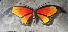 "La Mariposa Butterfly Metal Handmade Painted Wall Art Mexican Orange 24""x10"" 430"