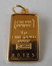 100% Genuine Vintage 24ct Credit Suisse Gold Bullion Ingot Pendant