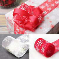 25Yards Christmas Snowflakes Let It Snow Winter Red Wired Ribbon Decoration 40mm