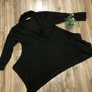 Bryn Walker Cowl Neck Tunic Top Blouse Medium Long Sleeve Lagenlook Brown Wool