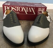 Vtg Bostonian Stress Relief Fine White/Gray Golf Shoes Leather 8W Bear Tracks D