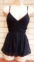TOM WOLFE BLACK SPOTTY MESH LACE RUCHED BUBBLE PARTY BLOUSE CAMI TOP SHIRT 8 S