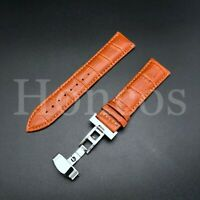 22MM LEATHER STRAP BAND WATCH BUTTERFLY DEPLOYMENT CLASP FOR LONGINES ORANGE