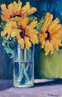 Sunflowers Floral Vase OIL PAINTING IDKOWIAK  Impasto Texture Collectible
