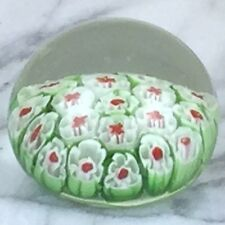 "Glass Floral Coral Reef Paper Weight Green Red & White Flowers 1.5""H x 2""W New"