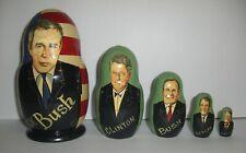 American Presidents Nesting Dolls Bush, Clinton, Bush, Reagan, Carter