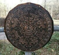Aztec Mayan Gods Calendar Wood Plaque Wall Decor Central American Art large 25""