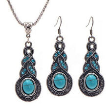 Fashion Women Rhinestone Necklace Earrings Set Charm Pendant Crystal Jewelry New