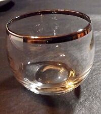 1 ROLY POLY GLASS - 2 1/4 IN SILVER  RIM TONED RETRO MAD MEN ERA DOROTHY THORPE