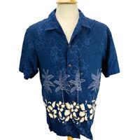 RJC Mens Hawaiian Shirt Blue White Tan Floral Cotton Aloha Camp Shirt Size XL