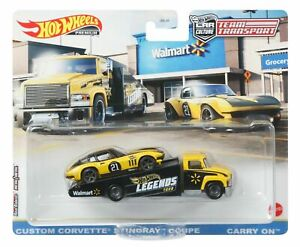 NOT MINT Hot Wheels Legends Tour Team Transport Corvette Carry On - WALMART