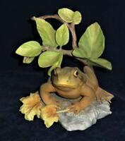 """Cybis Porcelain Figurine Frog or Toad on Rock with Leaves, 6"""""""