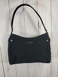 Vera Bradley Black Quilted Solid Hobo Bag Shoulder Purse Small Silver Zebra Line