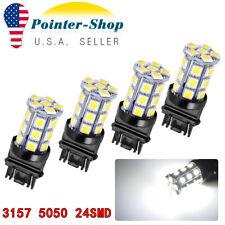 4 X 6000K White 3157 3156 24 SMD LED Tail Brake Stop Backup Reverse Light Bulbs