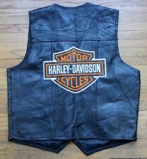Harley Davidson Embroidered Italian Leather Patch Work Vest Mens XL Embroidered