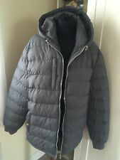D-Project Mens Grey Padded Hooded Jacket Coat Sz L