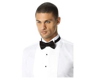 QB Mens White Pleated Tuxedo & Formal Dress Shirt w/ Black Bow Tie 3XL 19-19.5