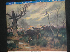 GE ROTIG 11/1944 ROD & GUN HUNTING CALENDAR MOOSE HERD AT WATERS EDGE GUAR OLD