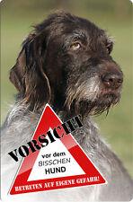 Deutsch DRAHTHAAR - A4 Alu Warnschild Hundeschild SCHILD Türschild - DDR 05 T3