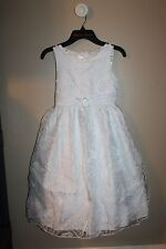 NEW  GIRLS SIZE 8 PAGEANT FLOWER GIRL FORMAL FANCY WHITE AMERICAN PRINCESS $80