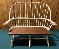 Vtg Upper Deck Ltd White Painted Hand Made Wood Doll House Loveseat Chair