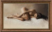 "Original Oil Painting art female Impressionism nude girl on canvas 24""x40"""