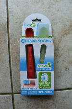 New Re-Play Re Play 4 pack Infant Spoons and Travel Case Red Blue Yellow Green