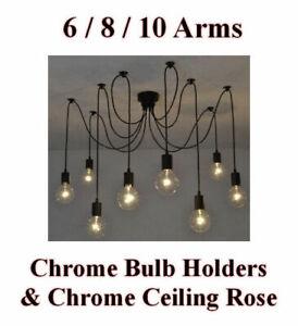 6/8/10 Bulb Lights Edison Chandelier Suspension Ceiling Pendant Lamp Spider CHR