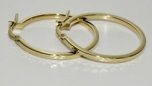 9ct Yellow Gold Patterned Hoop Earrings - Solid 9ct Gold