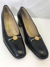 SALVATORE FERRAGAMO Navy Lizard Medallion Horsebit Pump Shoes Size  9 3A AAA