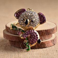 Handtasche Pendant aus lila Simili Schlüsselring mit Koalabär Modell Anhänger