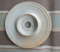 "Stoneware Pottery Butter Churn Crock Lid Only Beige Grey Glazed 7 1/2"" Diameter"