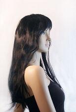 Lange schwarze Perücke Vamp Faschingsperücke sexy Perrücke Verkleidung gewellt