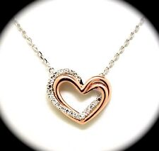 14k Two Tone Heart Pendant With Diamonds
