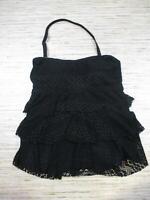 Island escape tiered bandini Tummy thinner Crochet  tankini top BLACK 6 nwt