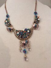 $125 Betsey Johnson Weave and Sew Multi Woven Flower Drama Necklace AB8