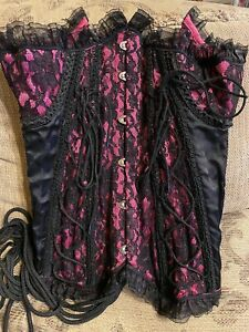 Used Corset, size S, ties up the back, clips in front, Hot Pink and Black
