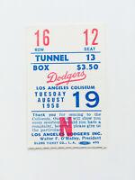 Authentic Rare Vintage 1958 Dodgers Baseball Game Ticket Stub LA Coliseum #2