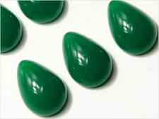 Lot (6) 18mm Czech vintage teardrop jade green chrysoprase glass cabochons