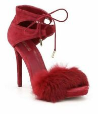 Michael Kors Remi Fur and Suede Sandal Size 8 Mulberry