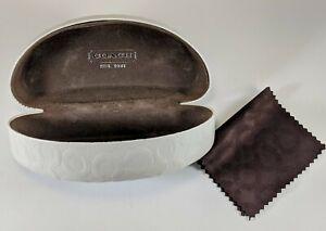 Coach Eyeglasses Sunglasses Case White/Light Cream Hard Clam Shell Case