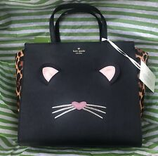 Kate Spade Leopard Hayden Run Wild Cat Large Satchel Bag Crossbody Purse New